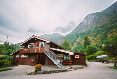 Flam Village In Norway. Wooden Guest House, Camping, Country Hou