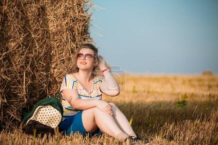 Beautiful Plus Size Young Woman In Shirt Posing In Summer Field