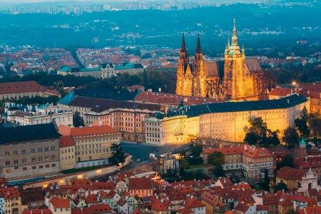 View of Prague, Czech Republic. Castle, St. Vitus Cathedral. Aer