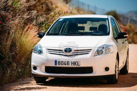 Toyota Auris car on Spain nature landscape
