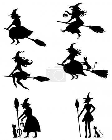 Set of silhouette black-and-white image of Hallowe...
