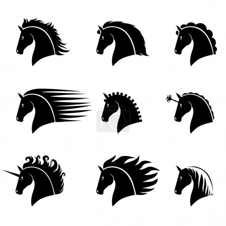 Illustration for Vector illustrations set of silhouette of a beautiful horse head with different manes - Royalty Free Image