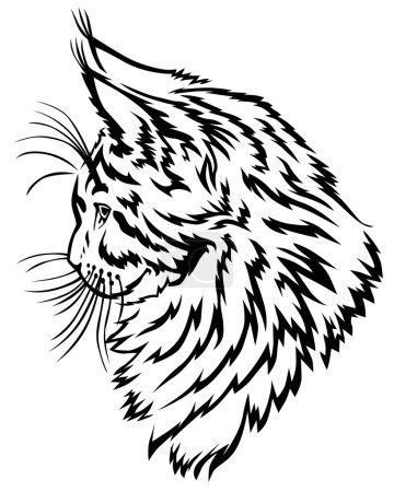 Illustration pour Illustrations vectorielles de l'image de contour du fuseau horaire Maine Coon profile - image libre de droit
