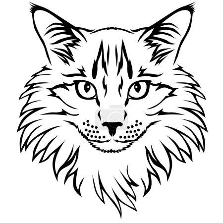 Contour cat portrait