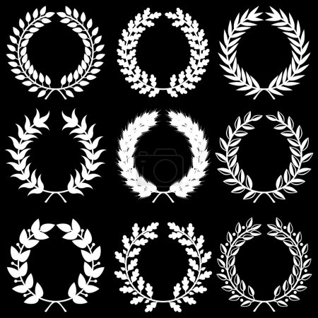 White laurel wreaths on black background set