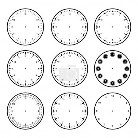 Set of dials with different graduations