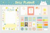 Cute Calendar Daily Planner Template for 2016 Beautiful Diary with Vector Character and Funny Kids Illustrations Spring Season Holidays Backgrounds Organizer and Schedule with place for Notes