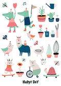 Funny Animals and Flowers set