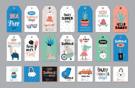 Illustration for Cute Summer Scandinavian Set of Greeting Cards, Gift Tags, Stickers and Labels Templates with Trandy Summer Elements in vector. Holiday Summer Modern Concept with Graphic Design Elements - Royalty Free Image