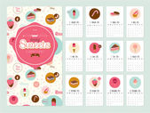Unusual calendar for 2015 with cartoon backing tasty sweets illustration in cute style Vintage collection Can be used like happy birthday cards Good organizer and schedule
