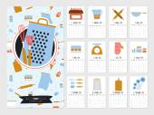 Unusual calendar for 2015 Cute vector food icons with cartoon cooking elements  illustration in cute style Vintage collection Good organizer and schedule Suitable for cafes and restaurants