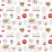 Ročník vánoční a novoroční pozdrav samolepky s roztomilý zimní prvky