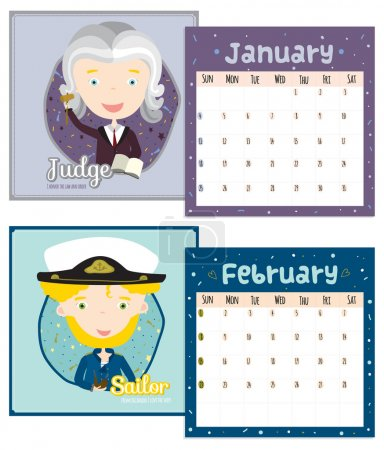 Unusual calendar for 2015 with cartoon and funny Professions.