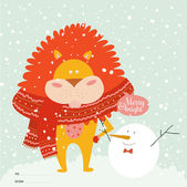 Cute snowman with tiger wrapped in a scarf