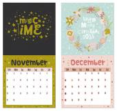 Romantic wall calendar for 2015 with flower labels ribbons hearts wreaths laurel