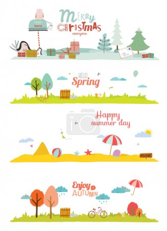 Illustration for Seamless vector seasons banners in a cute and cartoon style with place for text. Summer, autumn, winter, spring. - Royalty Free Image