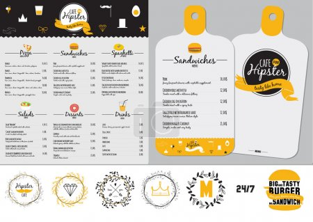 Illustration for Big set of restaurant and cafe menu design, template design in vector. Cooking frames, labels and graphic elements in hipster style design. Vintage-styled illustration. Fast Food. - Royalty Free Image
