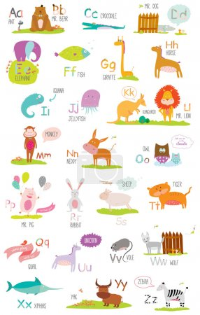 Photo pour Alphabet zoo vectoriel mignon avec dessin animé et animaux drôles - image libre de droit