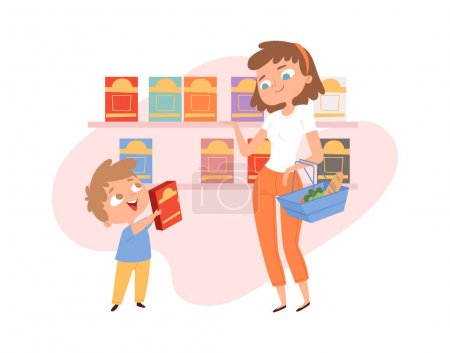 Shopping with child. Mother son in grocery store. Woman with shop basket, boy want cornflakes box. Cartoon family in food market, cute customers vector illustration