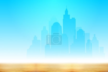 Light blue silhouette of the new city in the desert. High skyscrapers on a background of blue cloudless sky and golden sand.