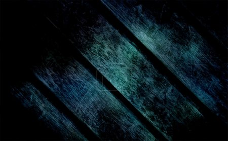 Blue-dark wooden texture. Wooden boards are lightly lit in the center and the edges are immersed in darkness. Stylish background for functional use, from the terrible tales to modern decor.
