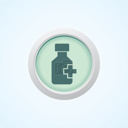 Colourful editable icon of medicine bottle and pills On Button.