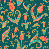 Tulips flowers seamless pattern