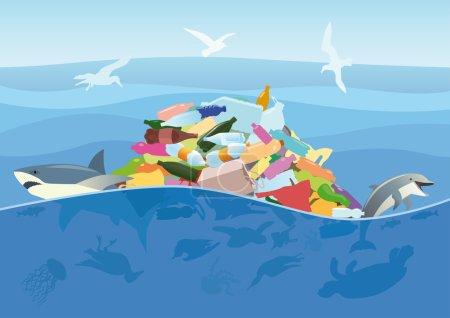 Illustration pour Catastrophe écologique des déchets plastiques dans l'océan. Tortue morte, méduses, oiseaux marins et poissons sur fond de débris marins . - image libre de droit