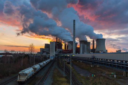 Lignite Power Plant pollution at sunset