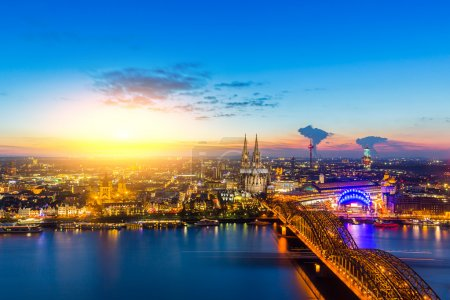 A view at sunset of cologne city in germany. Taken...