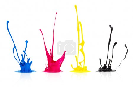 CMYK paint splashing isolated on