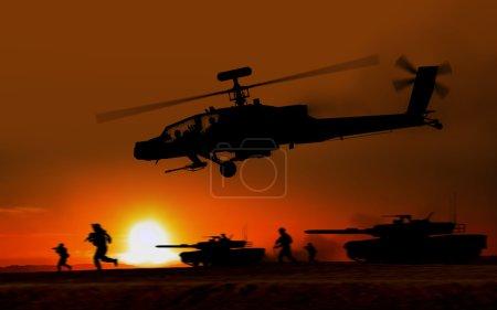 Photo pour Hélicoptère apache attaque de combat contre le coucher de soleil. - image libre de droit