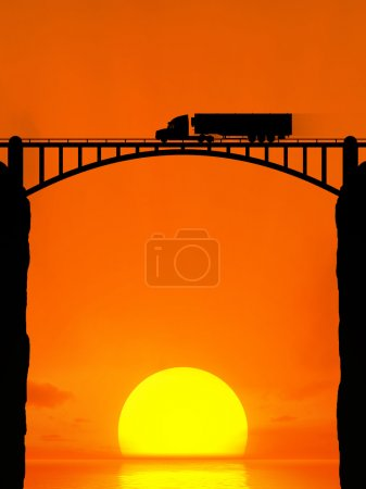 Silhouette of a moving truck on the bridge.