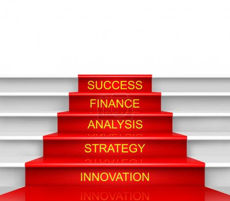 Photo pour Escalier vers le succès isolé sur fond blanc . - image libre de droit