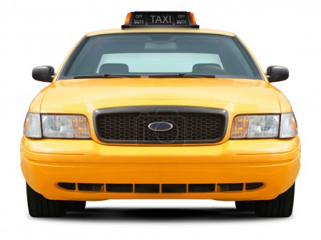 Photo for Yellow taxi car ford crown victoria front view isolated on white background. - Royalty Free Image