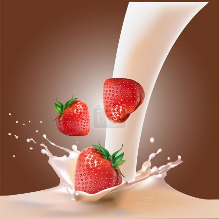 Illustration for Strawberry and chocolate pieces falling into the milk. - Royalty Free Image