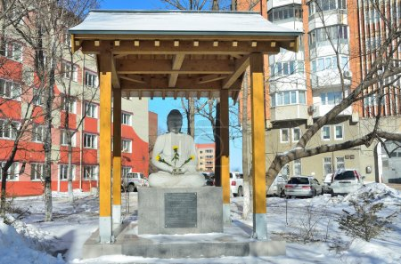 The sculpture, a gift as a token of friendship Japanese and Russian people installed in the courtyard of the old buildings of the far Eastern Federal University on Oceansky Avenue in Vladivostok