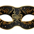 Vector illustration of black mask with gold decora...