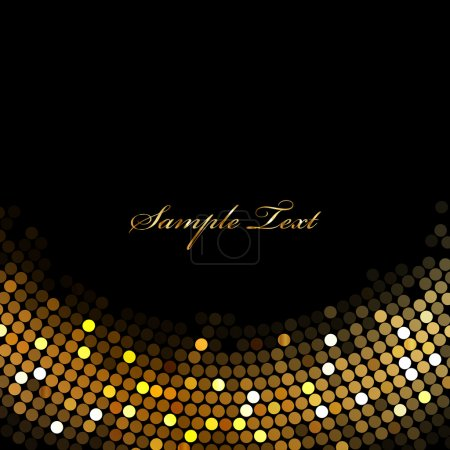 Vector black background with gold lights
