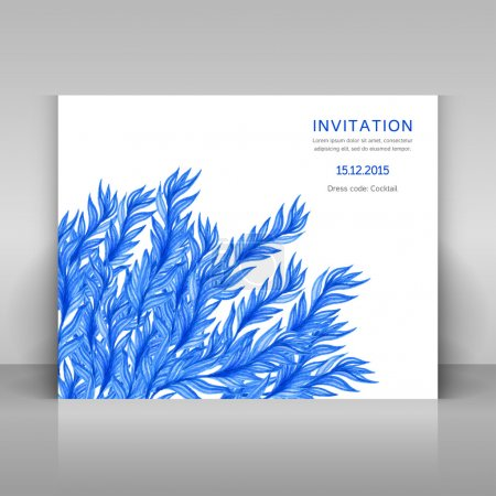 Illustration for Card with watercolor flowers. Vector template. - Royalty Free Image