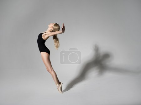 Photo for Ballerina in black outfit posing on toes over grey studio background. - Royalty Free Image