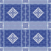 Vector abstract seamless patchwork pattern with geometric oriental ornaments stylized flowers stars snowflakes and lace on the dark blue background Vintage boho style