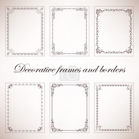 Illustration for Set vintage decorative frames and borders - Royalty Free Image