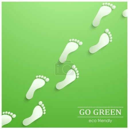 Illustration for Illustration of eco friendly footprints on green background - Royalty Free Image