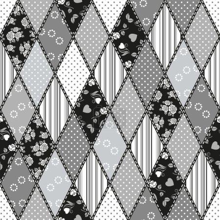 Illustration pour Vector abstrait patchwork sans couture motif avec des ornements géométriques et floraux, fleurs stylisées, points, flocons de neige et dentelle. Style boho vintage. noir et blanc - image libre de droit
