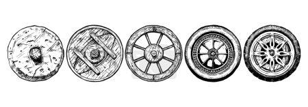 Illustration for Vector hand drawn illustration of the wheel evolution set. Set in ink hand drawn style. stone wheel, antique wooden wheel, spoked wheel, steel wheel, modern alloy wheel - Royalty Free Image