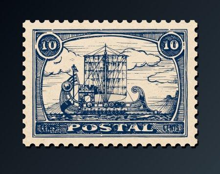 Illustration for Grunge postage stamp with antique ship.  Bireme. Vector illustration. - Royalty Free Image