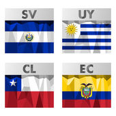 Flags of Latin America El Salvador Uruguay Chile and Ecuador