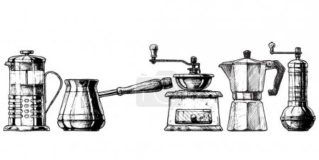 Vector set of coffee making equipment. French pres...