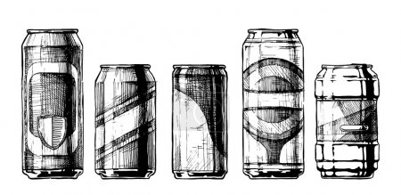 Illustration for Vector set of beverage cans in ink hand drawn style. isolated on white. Beercan. - Royalty Free Image